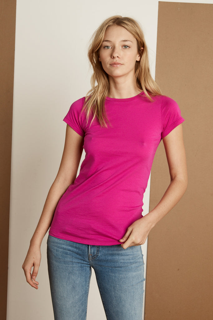 JEMMA GAUZY WHISPER CREW NECK TEE IN COSMOS