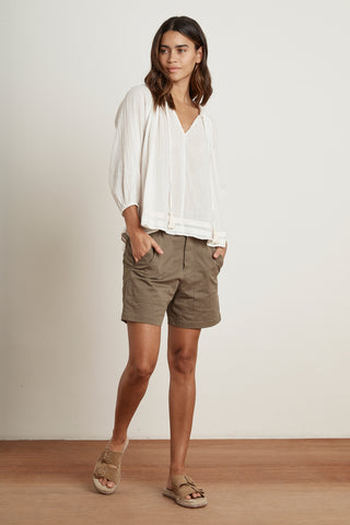 LENA HAND STITCH GAUZE BLOUSE IN OFF WHITE