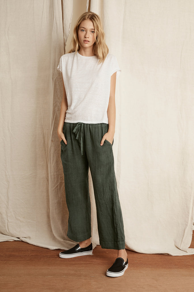 KORA WOVEN LINEN PANT IN DILLWEED
