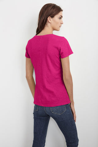 LILITH COTTON SLUB V-NECK TEE IN TAHITI