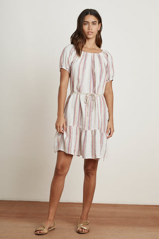 CINTHIA LUREX STRIPE PEASANT DRESS IN MULTI