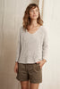 MAIA TEXTURED TAPE YARN SWEATER IN PUTTY