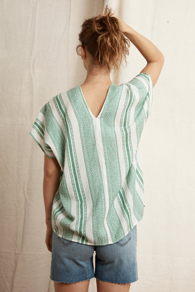 JENNA MALAGA JACQUARD TOP IN GREEN