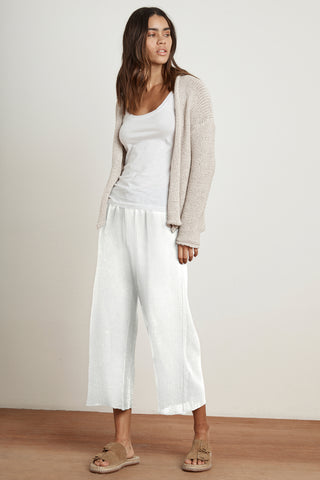 RAVYN COTTON GAUZE TROUSERS IN WHITE