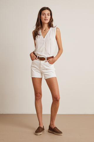 DILLON HIGH RISE DENIM SHORT IN SALT