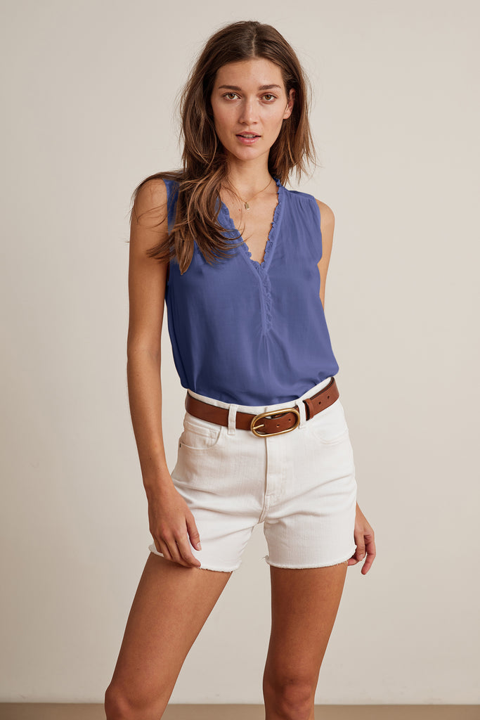 DION RAYON CHALLIS SLEEVELESS BLOUSE IN BELLA