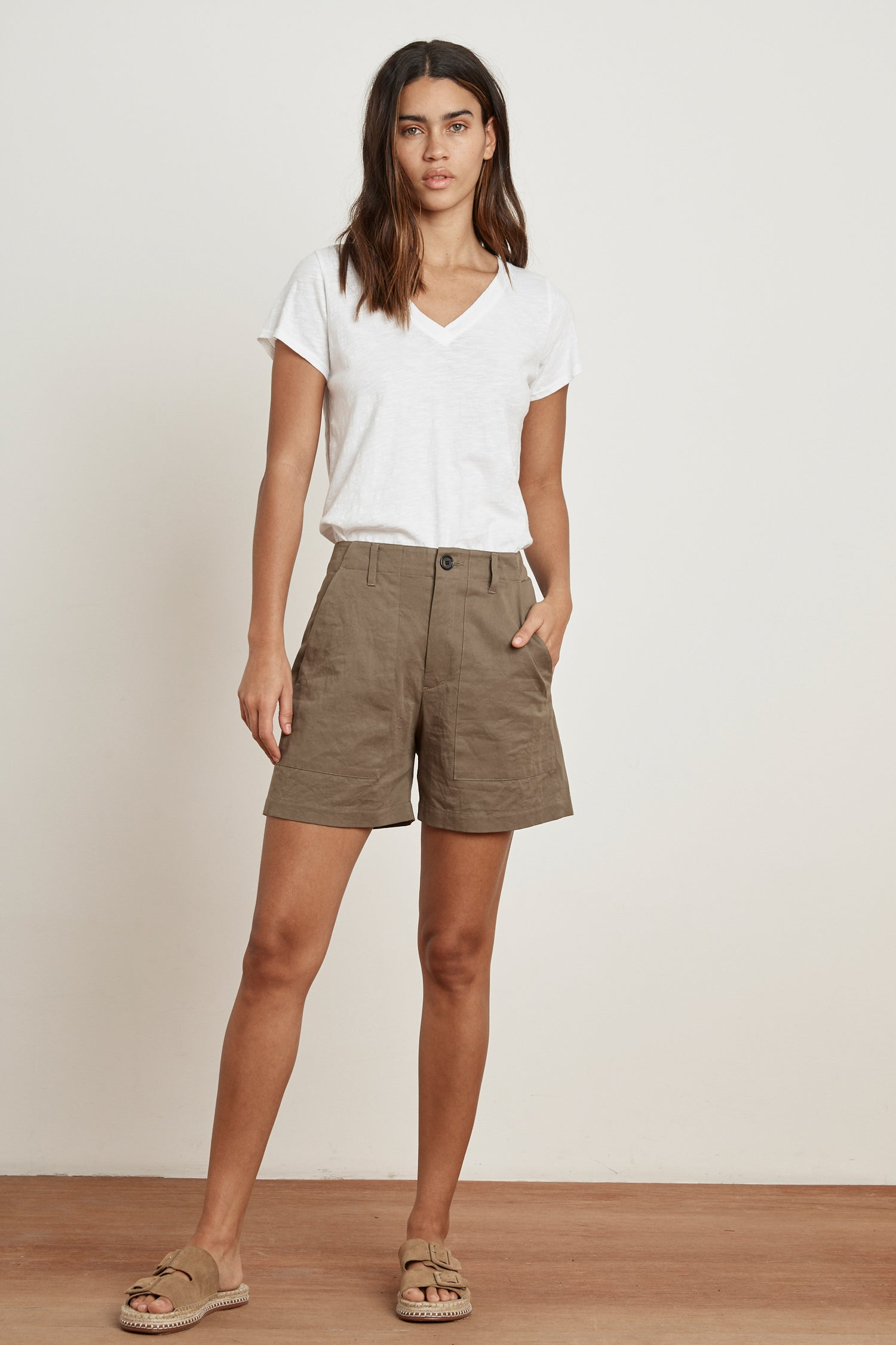 KAELY SANDED TWILL SHORTS IN HUNTER