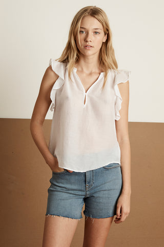 JAYNE SILK COTTON VOILE TOP IN WHITE