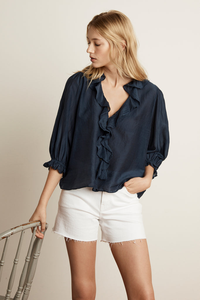 LIANNE SILK COTTON VOILE BLOUSE IN MIDNIGHT