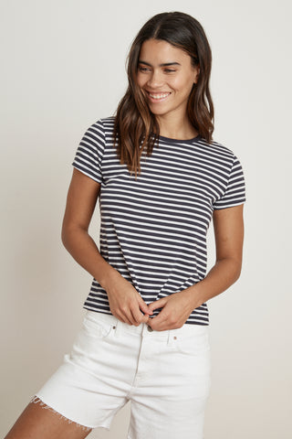 HADLEY STRIPE JERSEY TEE IN NAVY