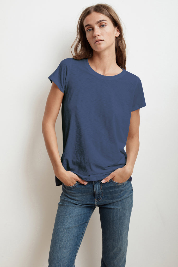 TRESSA SHORT SLEEVE CREW NECK TEE IN ATLAS
