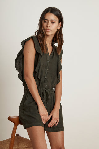FRANCIS WOVEN LINEN ROMPER IN DILLWEED