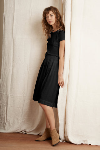 KRISTAL WOVEN LINEN SKIRT IN BLACK
