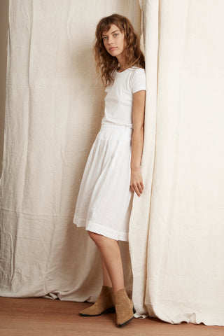 KRISTAL WOVEN LINEN SKIRT IN WHITE