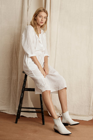 LARISSA WOVEN LINEN DRESS IN WHITE