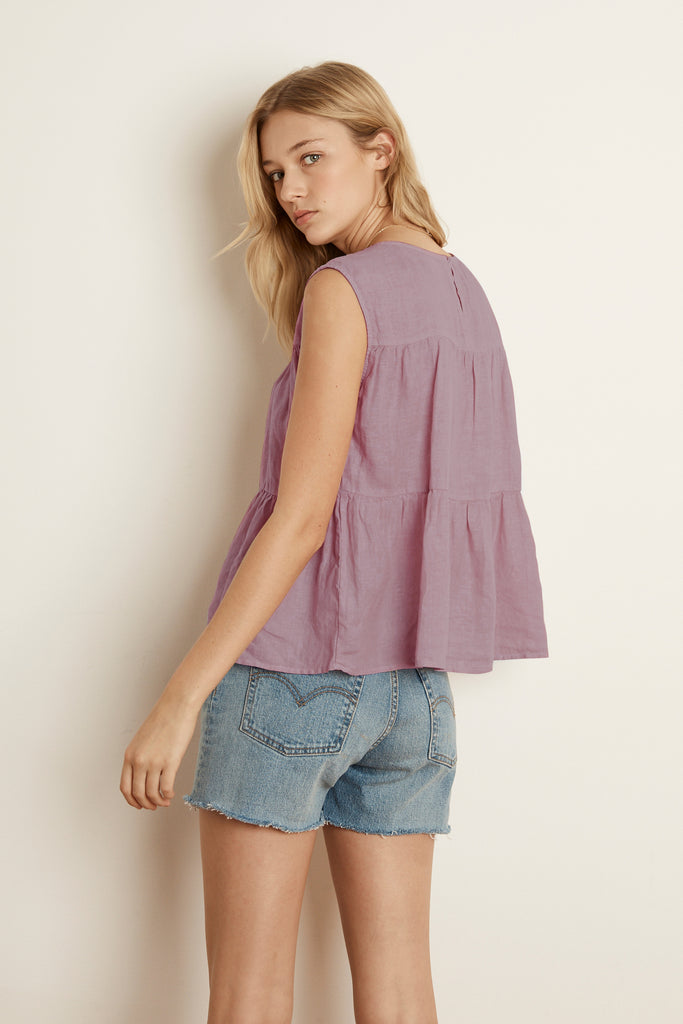 MANDI WOVEN LINEN SLEEVELESS BLOUSE IN ROSEBERRY