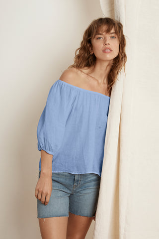 SHARLINE WOVEN LINEN BLOUSE IN BELIZE