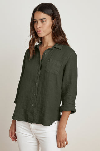 VERN WOVEN LINEN BUTTON UP SHIRT IN DILLWEED