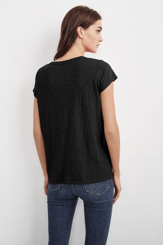 KIRA ORIGINAL SLUB SCOOP NECK TEE IN BLACK