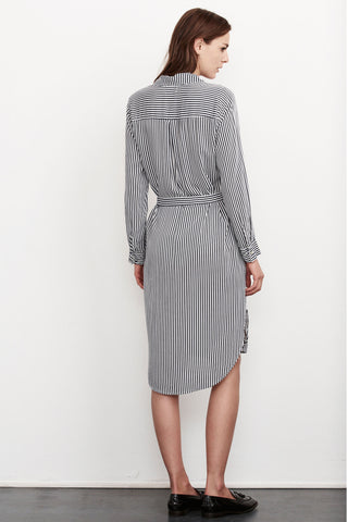 SONOMA VERTICAL STRIPE SHIRT DRESS IN NAVY