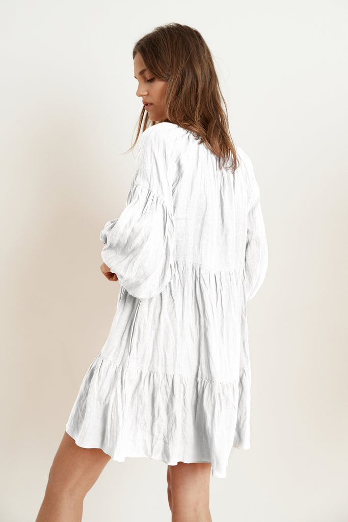 VESTA WOVEN LINEN RUFFLE TIERED DRESS IN WHITE