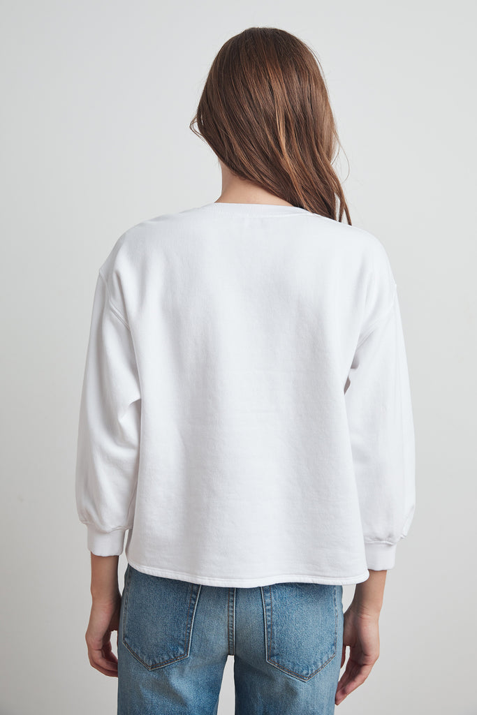 ADDILYN VINTAGE FLEECE SHIRRED SLEEVE PULLOVER IN WHITE
