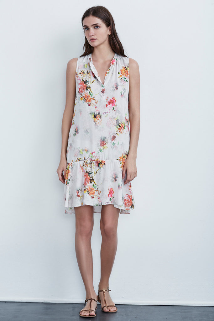 NERISSA VINTAGE FLORAL SLEEVELESS DRESS IN WHITE