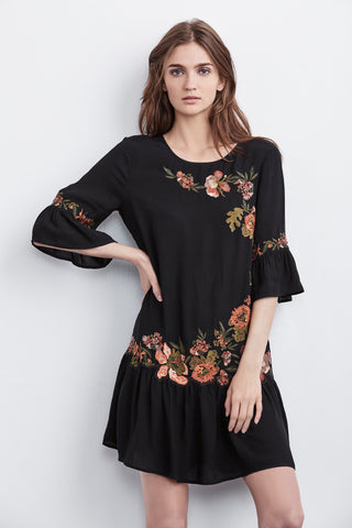 BETTY VINTAGE FLOWER EMBROIDERED RUFFLE DRESS IN BLACK