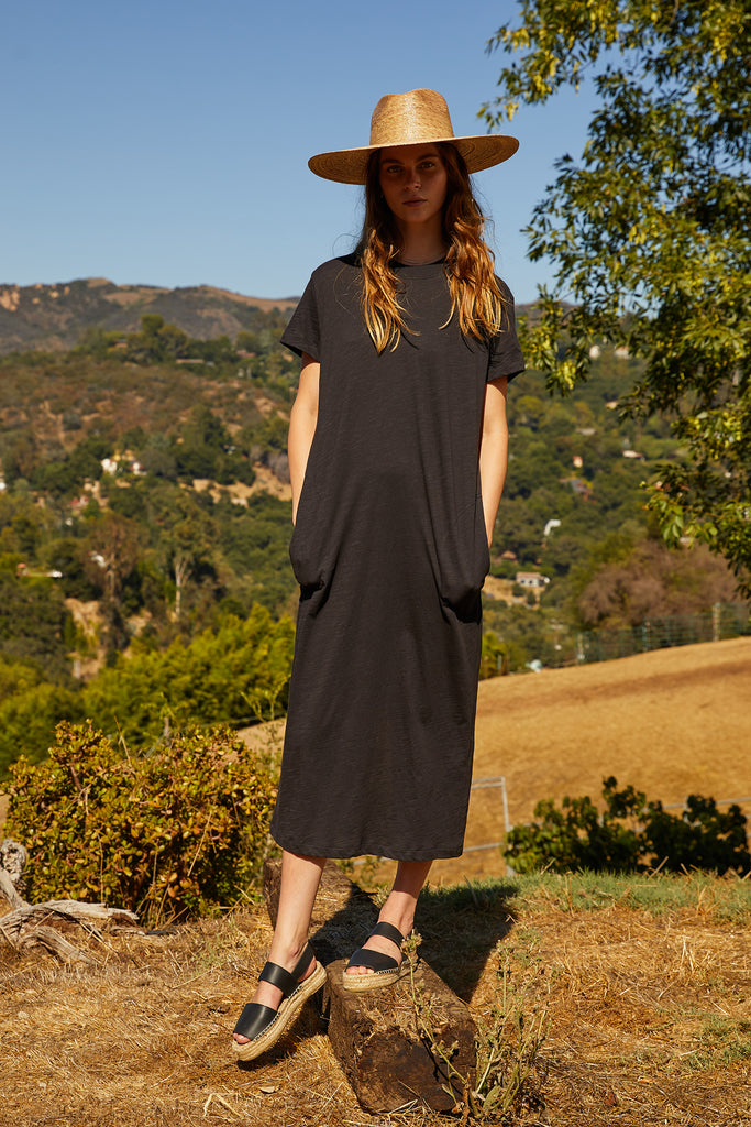 AIDA VINTAGE SLUB MAXI DRESS IN ELEPHANT