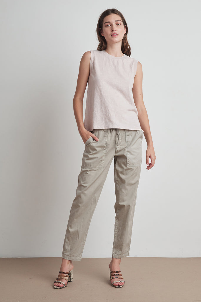 MISTY PANT COTTWILL IN PEBBLE