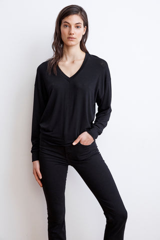 AFTON LUX GAUZE V-NECK TEE IN BLACK