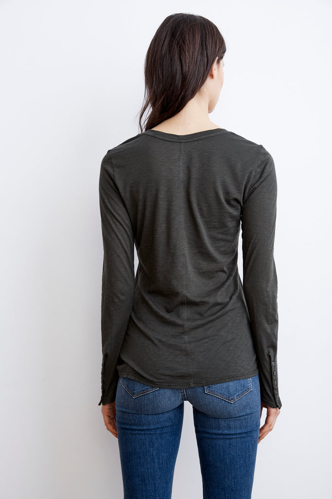 CHESNEY LUX SLUB BUTTON SLEEVE TEE IN MOSS