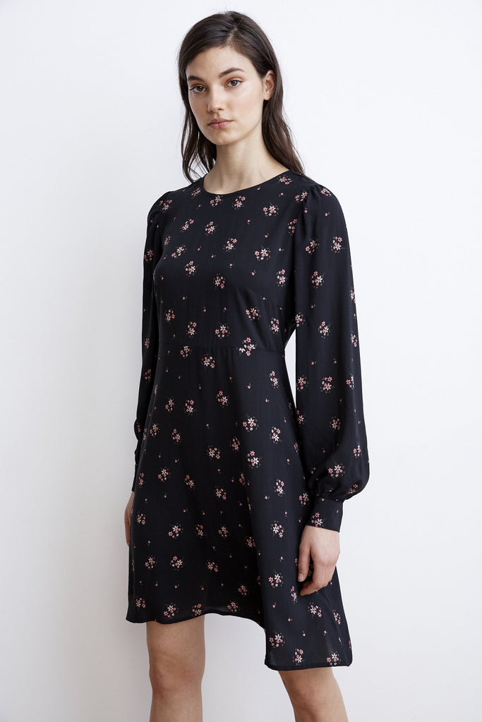 WINOLA FLORAL PRINTED CHALLIS DRESS IN CAMELLIA
