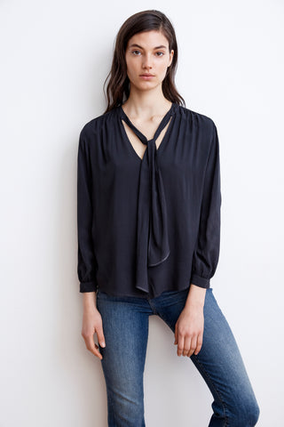 HONORA RAYON CHALLIS NECK TIE BLOUSE IN COAL