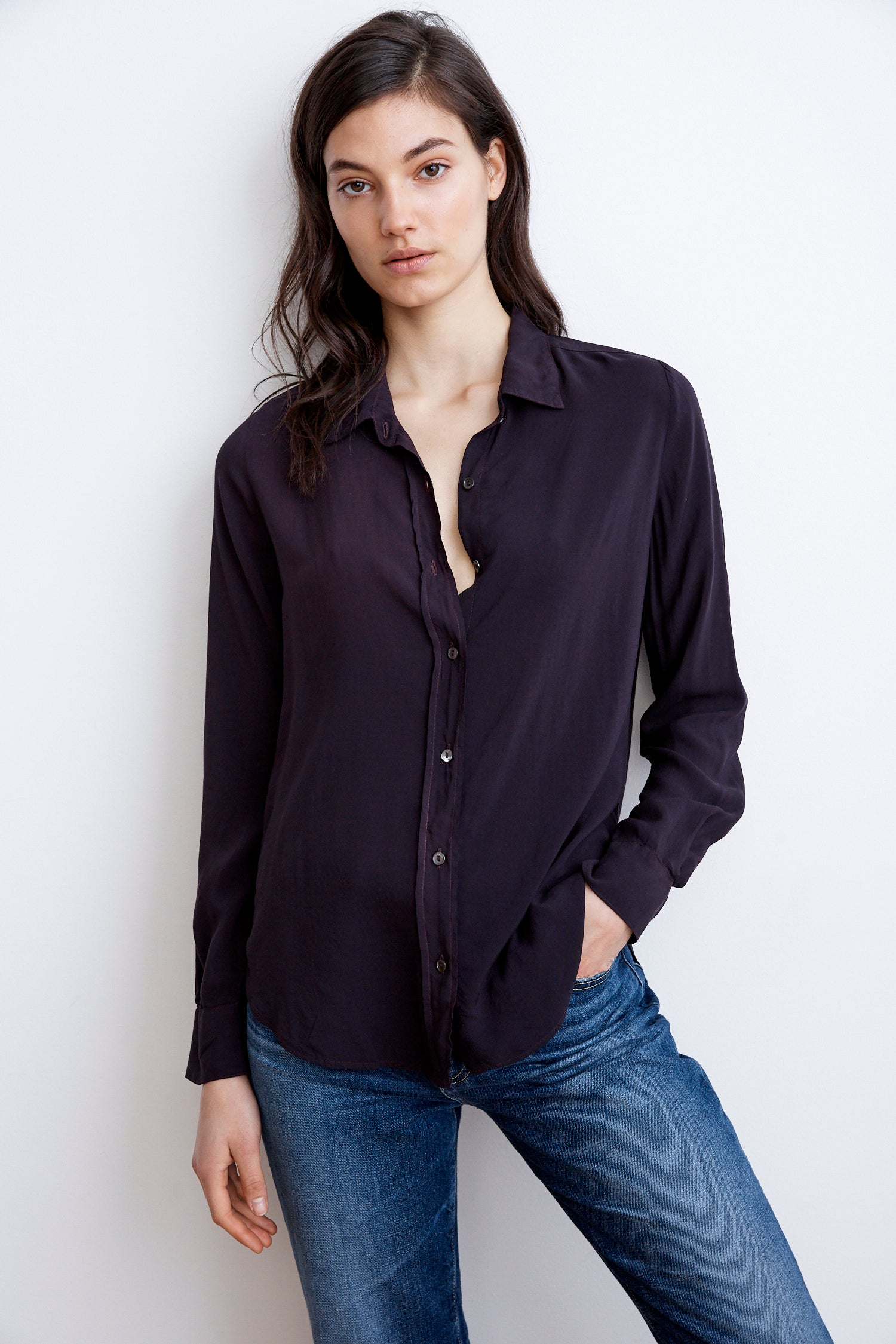 MELBA RAYON CHALLIS BUTTON UP SHIRT IN CHICORY