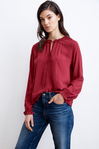SAMANTHA RAYON CHALLIS PEASANT TIE TOP IN CARMINE