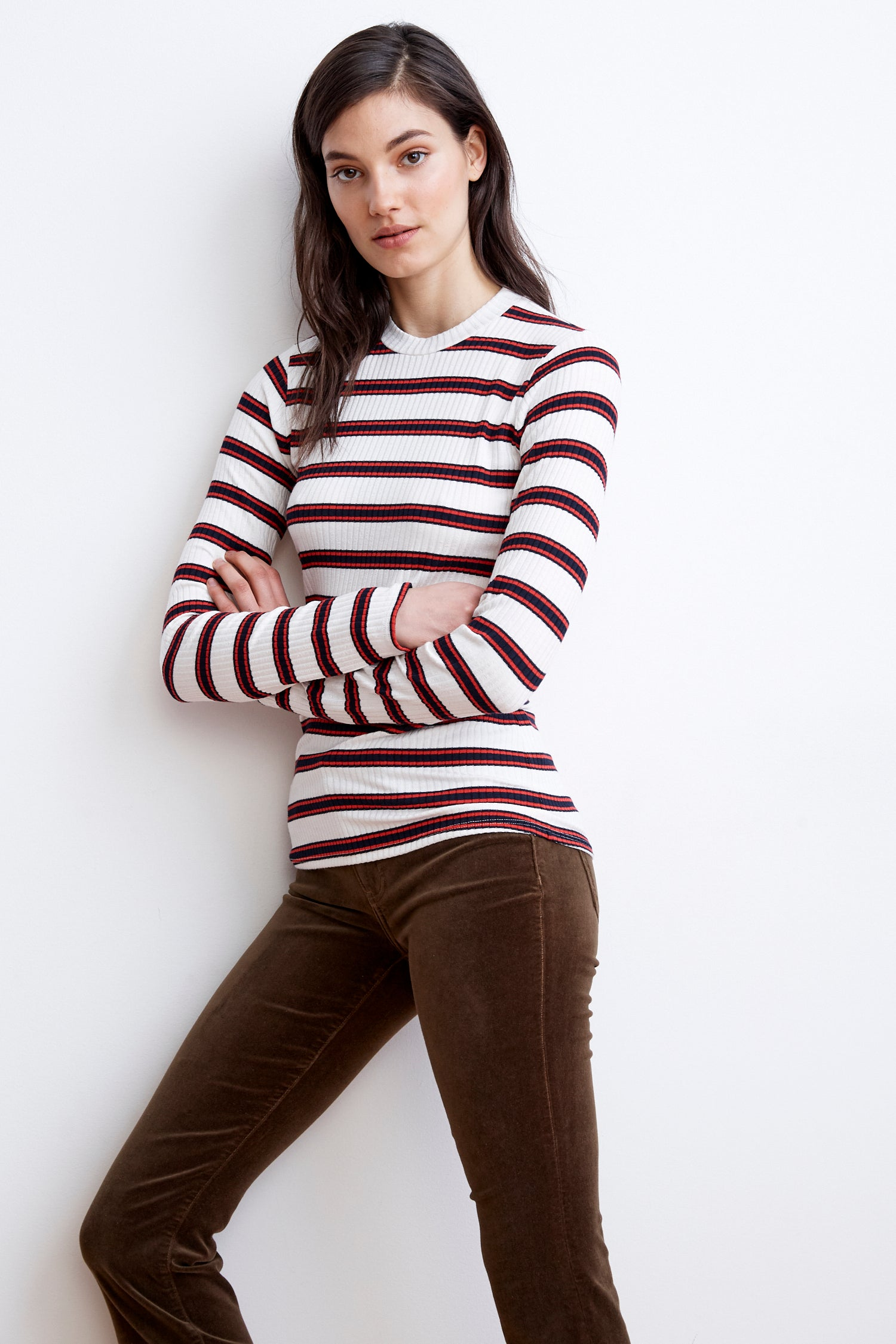 QUEEN RIBBED STRIPE RAYON KNIT TOP IN CREAM