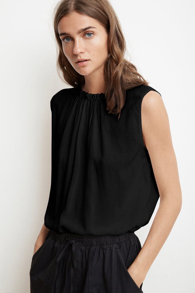WENNA RAYON CHALLIS SLEEVELESS HIGH NECK BLOUSE IN BLACK
