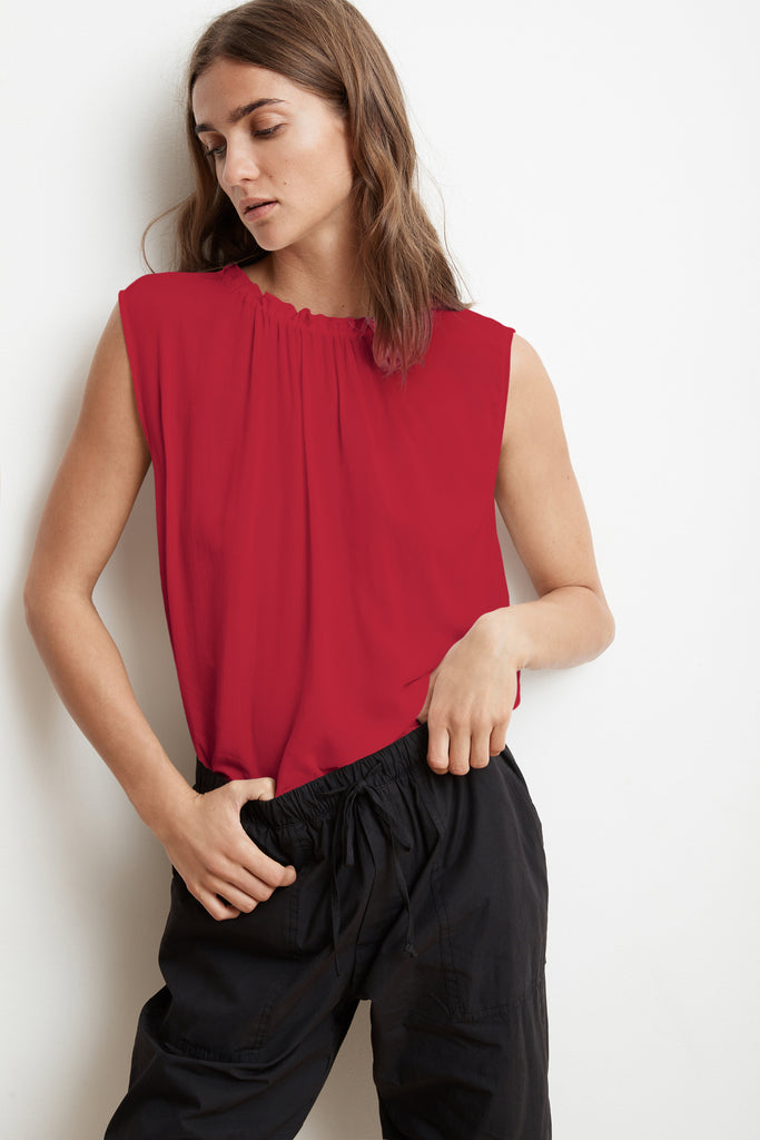 WENNA RAYON CHALLIS SLEEVELESS HIGH NECK BLOUSE IN CRIMSON