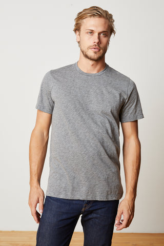 ARDEN COTTON SLUB CREW NECK TEE in Charcoal