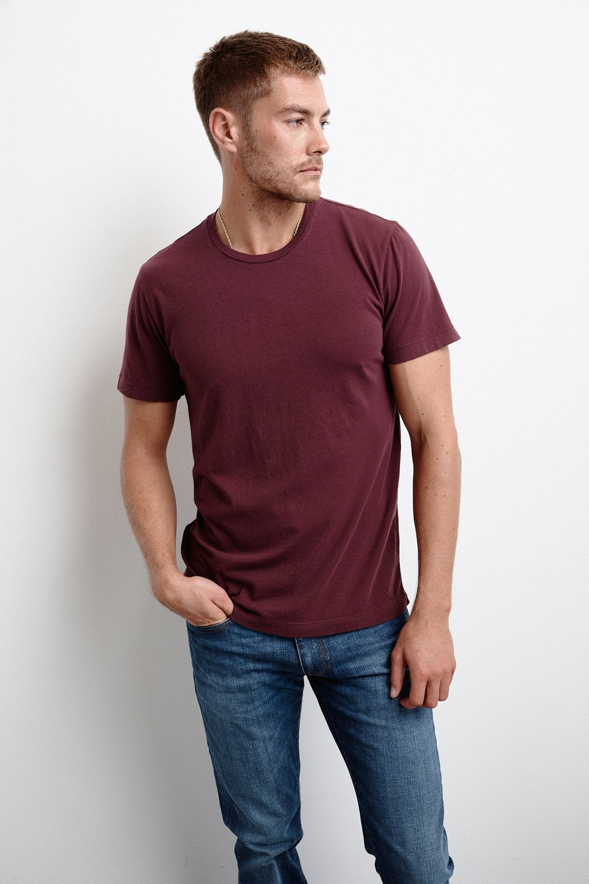 HOWARD WHISPER CLASSIC CREW NECK TEE IN CONCORD