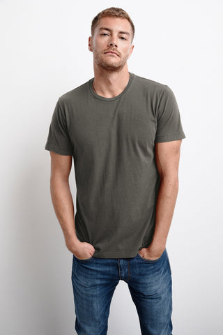 HOWARD WHISPER CLASSIC CREW NECK TEE IN NETTLE