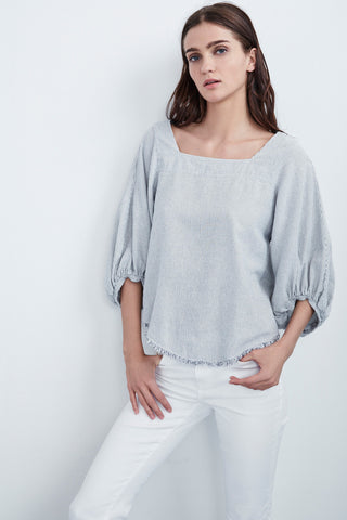 BARLOW WOVEN COTTON STRIPE PEASANT TOP IN GARLAND