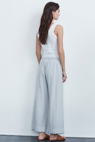 ESTA WOVEN COTTON STRIPE FRAYED PANTS IN GARLAND