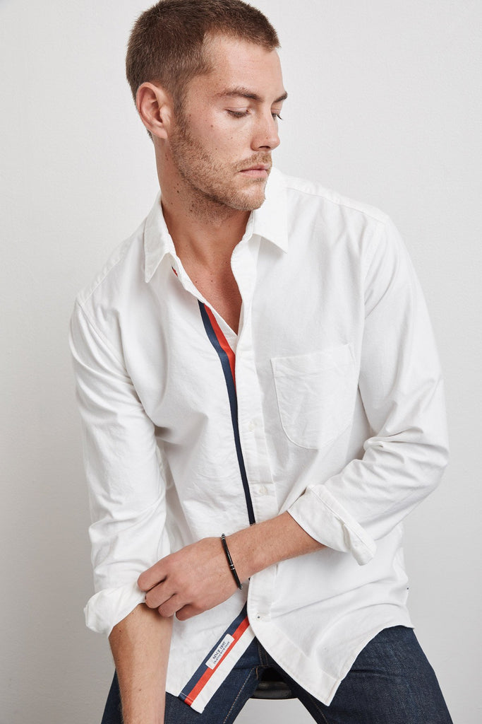 GENO WOVEN COTTON STRIPE TRIM SHIRT IN WHITE