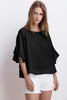 ALBERTA WOVEN LINEN RUFFLE SLEEVE TOP IN BLACK