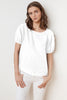 AMISSA WOVEN LINEN PUFF SLEEVE BLOUSE IN WHITE