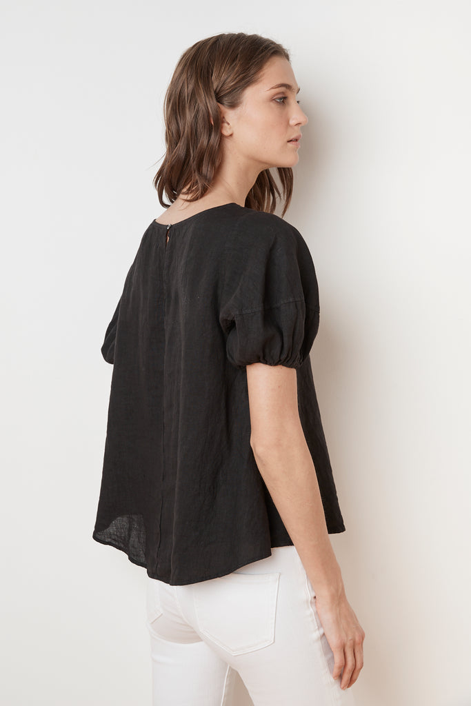AMISSA WOVEN LINEN PUFF SLEEVE BLOUSE IN BLACK