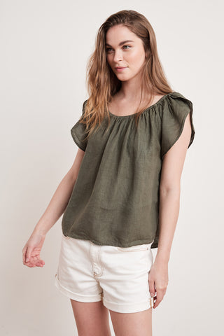 CEILA WOVEN LINEN TOP IN ELM