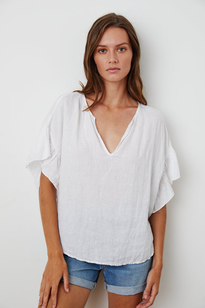 COLLEEN LINEN BLOUSE IN WHITE